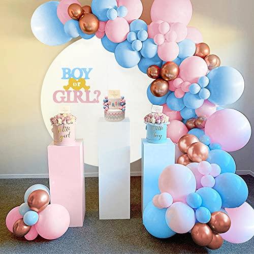 Palloncino Ghirlanda Blu Rosa,BIQIQI 99pcs Palloncini Baby Shower Decorazioni con Rosa Blu...