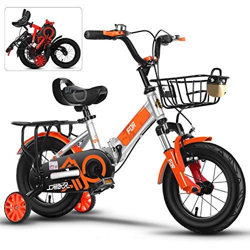 ROYWY 20 Pulgadas Bicicletas Infantiles, Bici Plegable niño con Frenos y Ruedines, Edición Clásica Bikes/Orange