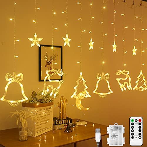 Luces de Cortina de Estrella, Cortina de Luces con 12 Estrellas y Decoración navideña, Guirnaldas Estrellas Cortina Luces con 8 modos Ajustables, Luces de Hada de Estrellas para Boda, Navidad, Jardín