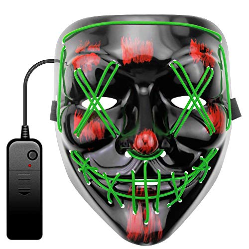 JOVNO Halloween Mask Scary Mask EL Wire Purge Mask LED Light Up Mask for Festival Cosplay Halloween Masquerade Costume Parties with 3 Lighting Modes Safe and Easy to Use Gifts for Kids/Family GREEN
