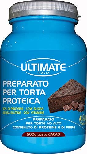 Ultimate Italia Preparato per Torta Proteica al Cioccolato, 30% di Proteine, Low Carb, senza Zucchero, con Frutta Secca, Arricchito di Fibre e Vitamine, senza Glutine, Cacao, 500 Grammi