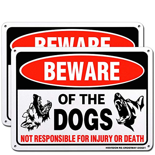 HISVISION Beware of Dog Sign, 2 Pack 10'x 7' Rust Free .40 Aluminum, UV Printed- Professional Graphics- Easy to Mount- Indoor Or Outdoor Use- Beware of Dog Warning Signs