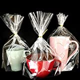 PigPotParty 8'x 11', Bottom Gusset Bags, 50x Clear Cello Cellophane Treat Goodie Bags with 50x Twist...