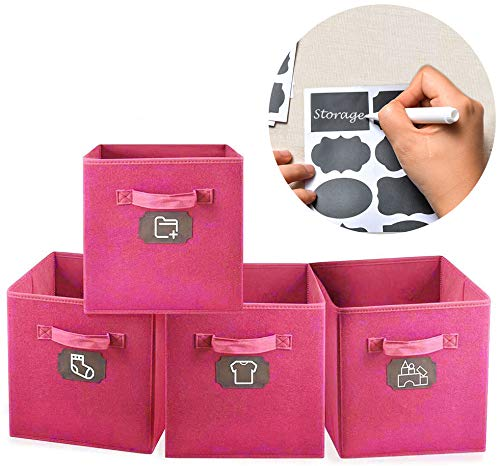 MCleanPin 4er-Pack Verdickte Aufbewahrungsbox Aufbewahrungskörbe, Robust und Faltbar, mit Griffen, 28x28x28cm vollkommen für die Meisten Schrank, Regal im Büro und Haus (Pink)
