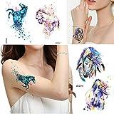 Acuarela, diseño de caballo, tatuaje temporal, para mujer, mariposa, pluma...