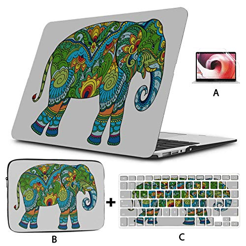 Mac Book Case Colorful Cute Retro Elephant Flower Macbook Pro Protective Case Hard Shell Mac Air 11'/13' Pro 13'/15'/16' With Notebook Sleeve Bag For Macbook 2008-2020 Version