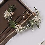 XKMY Juego de pendientes de guirnaldas de flores secas de estilo coreano blanco con diseño de princesa, diademas para el pelo, joyas para novias (piedra principal: blanco)