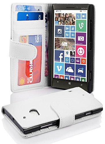 Cadorabo Hülle für Nokia Lumia 929/930 in Magnesium WEIß – Handyhülle mit Magnetverschluss & 3 Kartenfächern – Hülle Cover Schutzhülle Etui Tasche Book Klapp Style