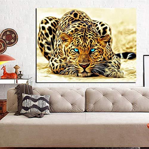 HSFFBHFBH Impresión Digital de HD Leopardo Mirando para Presa Animal Pintura Abstracta sobre Lienzo Imagen de Arte de Pared para Sala de Estar Sofá 50x85cm Marco Interior