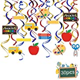 30Pcs Back to School Hanging Swirl Decorations Ceiling Streamers for Classroom Decor First Day of School Teacher Gift