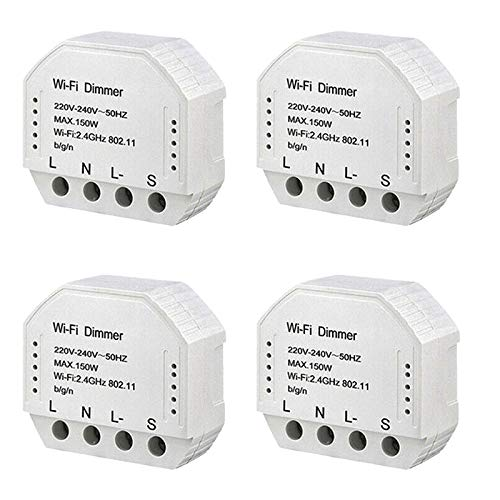 SODIAL 4Pcs DIY Smart WiFi Light LED Dimmer Switch Smart Life/Tuya APP el Control Remoto Funciona con Alexa Echo Home