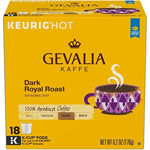 Gevalia Dark Royal Roast Coffee Keurig K Cup Pods (72 Count, 4 Boxes of 18)