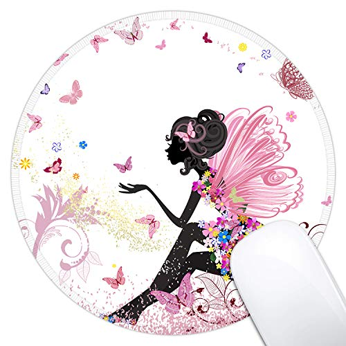 Dynippy Mouse Pad Gaming Mouse Pads Non-Slip Rubber Base Mousepad with Stitched Edge Round Mouse Mat for Desktops Computer Laptops ( Butterfly Girl )