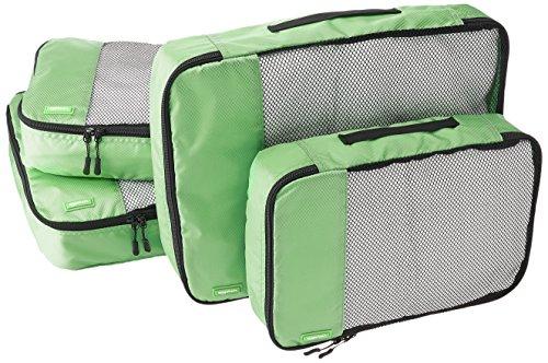 AmazonBasics Kleidertaschen-Set, 4-teilig, 2 mittelgroße und 2 große Kleidertaschen, Grün