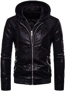 FashionScrapbook Men's Faux Leather Black Hood Jacket with Zip, Vegan Jacket, Full Sleeves, Latest Unique Design.