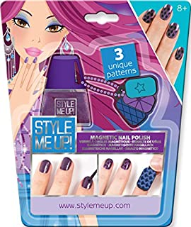 Style Me Up - Girls Nail Polish Sets for Kids - Nail Art Stamping Kit for Kids - Purple Magnetic Nail Varnish - Creative Kits for Girls - SMU-1655