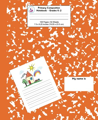 Primary Composition Notebook: Pumpkin Marble, Grades K-2 Kindergarten Writing Journal (Draw & Write Exercise Books)