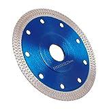 Disco diamantado de 115 mm, fino profesional, corte en seco con corte en húmedo para gres porcelánico, granito, cerámica, cuarcita, mármol, azul