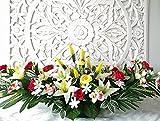 roselynexpress Composition de Fleurs artificielles, lesté Totalement Ciment en jardinière, pour cimetière. Réalisé par nos Soins, Produit très apprécié dans nos Villes, Fleurs de très Bonne qualité.