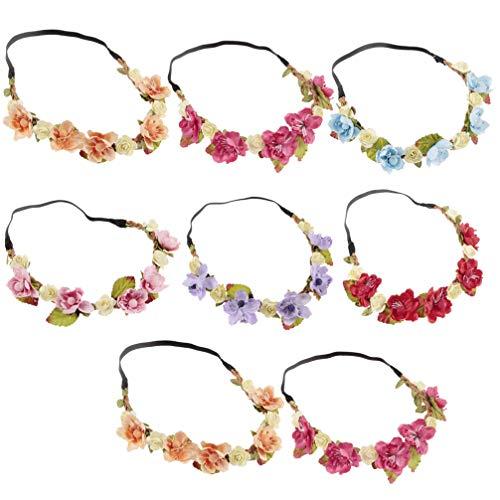 Lurrose 8 piezas bebé diadema floral corona de flores bebé niña tocado...