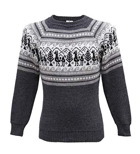Alpaca Wool Sweater Men Alpaca Sweaters Alpaca Wool Sweater Mens Little Llamas Design (Gray, XLarge)