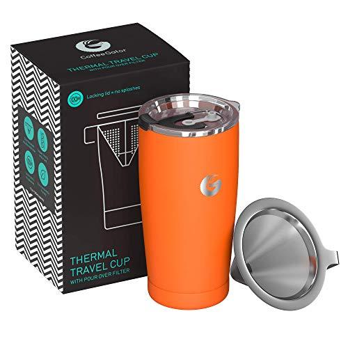 *Coffee Gator Pour Over Kaffeebereiter – All-in-One Thermo-Kaffeebecher für unterwegs und Handtropf-Kaffeemaschine – Vakuumisolierter Edelstahl mit papierlosem Filter – 585ml – Orange*