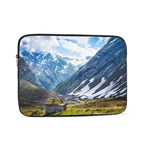 Alone Cabin Clouds Cottage Field Grass Light Mountain Snow 13 Inch Laptop Sleeve Bag Compatible with 13.3' Old MacBook Air (A1466 A1369) Notebook Computer Protective Case Cover
