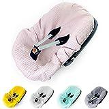 Funda de verano para silla de bebé universal, por ejemplo, Maxi Cosi, 100% algodón de gofre, funda para asiento de bebé, funda de asiento infantil (rosa)