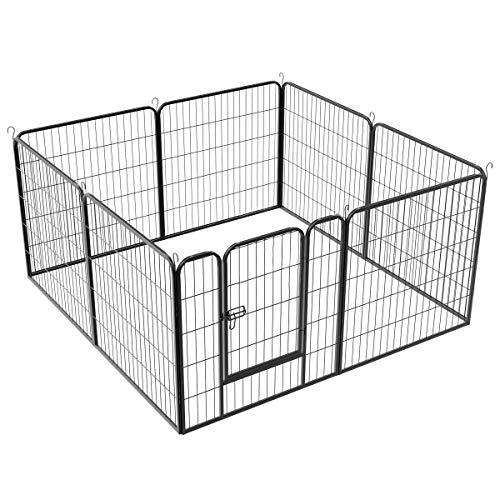 Yaheetech 8 Valla para Perros Paneles Metálica para Animales Pequeños Corral Plegable para Mascotas 80x80