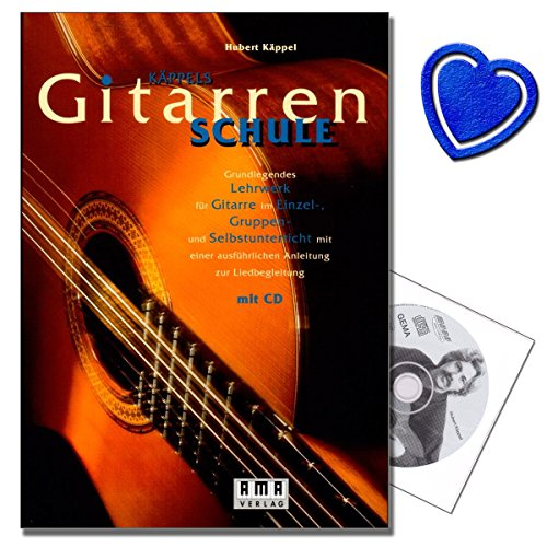 Käppels Gitarrenschule mit CD - Grundlegendes Lehrwerk für Gitarre im Einzel-, Gruppen- und Selbstunterricht mit einer ausführlichen Anleitung zur Liedbegleitung - mit herzförmiger Notenklammer