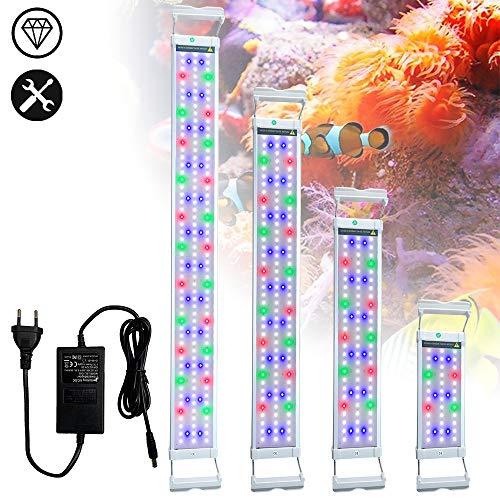 Froadp 18W Aquarium Lampe Skalierbare LED Beleuchtung Aluminiumgehäuse für Aquarien Fische Tank Korallenriff Wasserpflanzen(RGB+Blau, 75-95cm)
