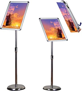 Egeen Pedestal Sign Holder, Adjustable Poster Stand Sign Holder, Floor Sign Stand for Display/Advertisement, Vertical and Horizontal View Display (Silver, 11 x 17 inches)