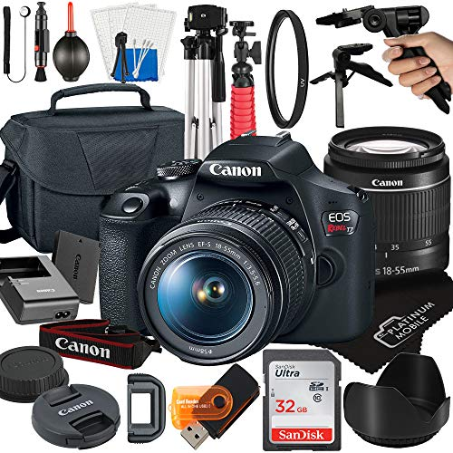 Canon EOS Rebel T7 DSLR Camera with 18-55mm Zoom Lens + Platinum Mobile Accessory Bundle Package Includes: SanDisk 32GB Card, Tripod, Case, Pistol Grip and More (21pc Bundle)
