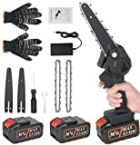 Mini motosierra a batería portátil, nueva motosierra con cadena, placa guía guantes, cargador y 2 baterías,...