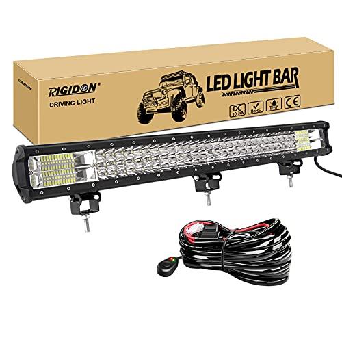 RIGIDON Barra de luz led, 12V 24V 28 pulgadas 396W, 7D Tri fila Barras luminosas led y kit de cableado para off road camión coche ATV SUV 4x4 barco, Foco Inundación Combo, lámpara de conducción 6000K