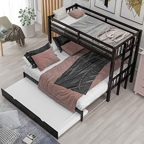 Twin Over Twin/King Bunk Beds with Trundle, Twin Over Pull-Out bunk Bed Accommodate 4 People for Kids, Adult, No Box Spring Needed