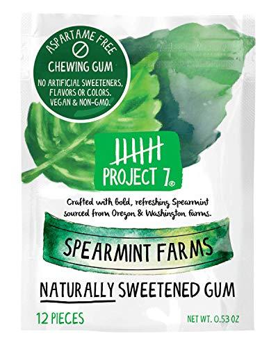 Project 7 Clean Gum Spearmint Farms | Long Lasting, Vegan, Non-GMO, Aspartame Free, Sugar-Free & Low Carb | 12 packs (144 pieces)