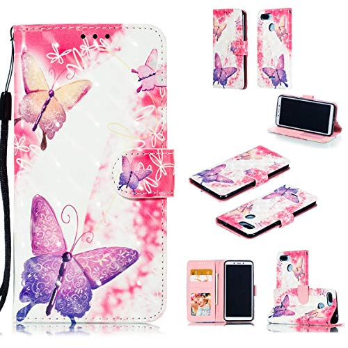 tinyue® Xiaomi Redmi 6A / Redmi 6 Funda, Cubierta de Billetera de Cuero PU Color 3D Tapa abatible Funda, Patrón de Mariposa Rosa, para Xiaomi Redmi 6A / Redmi 6, A1
