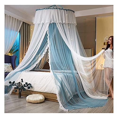 JHGF Red de cama de doble capa para niñas – Hilo de encaje redondo con luces Mosquitera para cubrir camas, camas infantiles, hamacas (tamaño: para cama de 1,8 m)