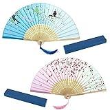 Joeyer Retro Abanico Plegable de Mano con Dibujo Sakura y Mariposas para Verano Boda Regalos, Accesorios de Baile, Decoracion de Pared (B)