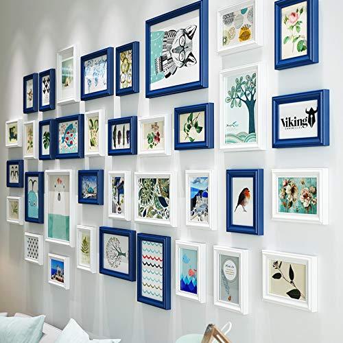 Galerij muur fotolijsten Set Kit- 36 Frames- Massief Hout- Glas Raam-Acht 16.1X21.2Cm, en Twee 23.4X28.4Cm, die allemaal zijn gemaakt van massief hout, Zwart