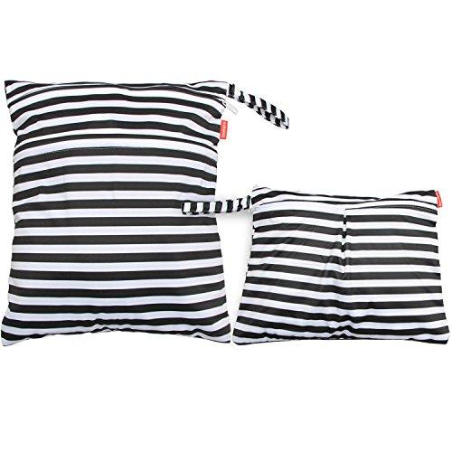 Damero 2 Stück/Set Windeltasche mit wiederverwendbarem Stoff Wetbag Feuchttücher Organiser Beutel, Schwarze Streifen