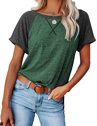 Blusa de manga corta con cuello redondo para mujer, estilo casual, bloque de color - - X-Large