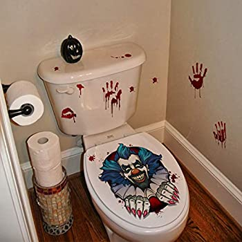 2 Pieces Halloween Toilet Lid Decals 3D Horrible Wall Stickers DIY Scary Home Decor Bathroom Screaming Bloody Dark Creatures Decoration Poster for Punk Party  Clown