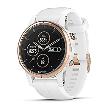 Garmin fenix 5S Plus Sapphire Multisport GPS Watch (Rose Gold with White Band)