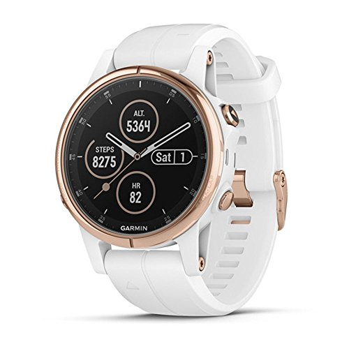 Garmin fenix 5S Plus, Smaller-Sized Multisport GPS Smartwatch, Features Color Topo Maps, Heart Rate Monitoring, Music and Contactless Payment, White/Rose Gold