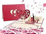 Tarjeta de Felicitación Pop Up 3D, Tarjeta De Felicitación Romántica, Tarjeta para el día de San Valentín, para el cumpleaños o el aniversario del amante (Rojo casar)