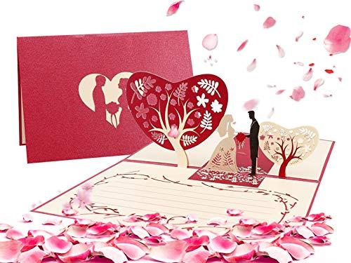 3D Carte De Saint Valentin, Carte D'amour Romantique, Carte Anniversaire Marriage, pour La Famille Enfants Amis Amoureux de La Saint-Valentin Joyeux Anniversaire (Rouge mariage)