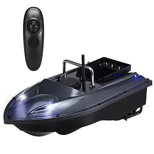 Barco Cebador Pesca,Barco Teledirigido de Pesca con Función de Iluminación Nocturna,1.5 Kg de Carga Asistida Pesca Herramienta,Hélice Doble Motor Doble,5200Mah Batería