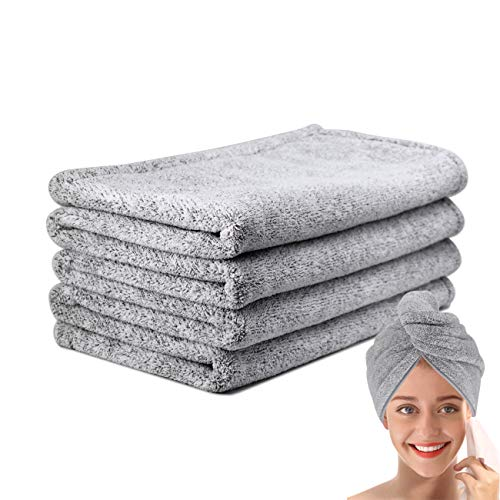 pocova Ultra-Fine Microfiber Hair Drying Towels 44 x 24.5 Inches Thicken Lengthen - Simone&Jerry Original Magic Instant Hair Dry Wrap for Women Super Absorbent Quick-Drying Hair Towel,1 Grey
